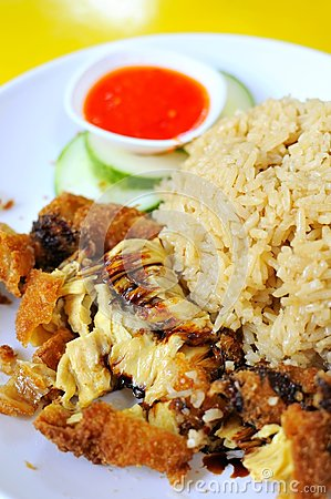 Traditional chicken rice delicacy