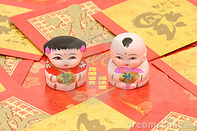 Traditional Chinese boy and girl figurines