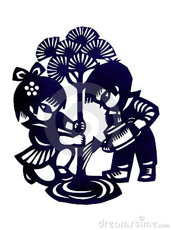 Traditional chinese children paper cutting