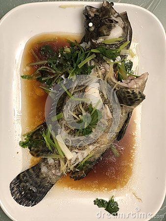 Free Traditional Chinese Dish Of Steam Fish Stock Image - 106095881