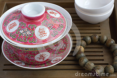 A traditional chinese gaiwan on a tea table
