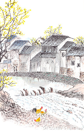 Traditional Chinese painting of country landscpe