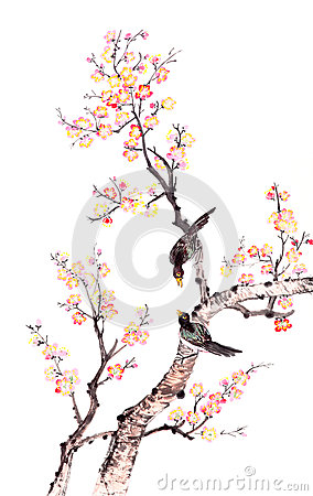 Traditional Chinese painting of plum blossom
