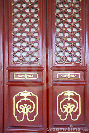 Traditional chinese red door of gugong