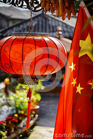 Free Traditional Chinese Red Lantern And The Flag Of China Royalty Free Stock Photo - 68604055