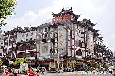 Traditional Chinese Shopping Mall, Shanghai, China Editorial Stock Photo
