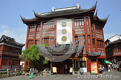 Traditional Chinese Shopping Mall, Shanghai, China Editorial Photography
