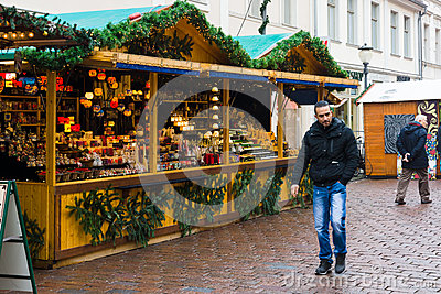 Traditional Christmas market in the old town of Potsdam. Editorial Photography