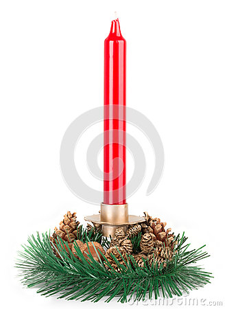 Free Traditional Christmas Red Candle Isolated On White Background Royalty Free Stock Photography - 36848077