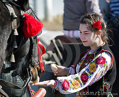Traditional costume and horse Editorial Stock Photo