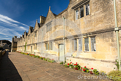 Traditional cotswold stone almshouses