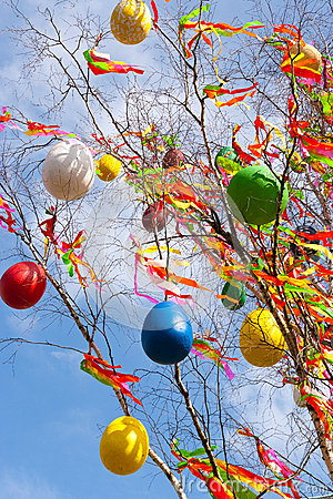 Free Traditional Czech Easter Decoration - Decorated Birch Tree Betula Pendula With Colorful Ribbons And Painted Eggs - Rural Symbol Royalty Free Stock Photography - 84640447