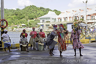 Traditional dancers in Roatan, Honduras Editorial Image