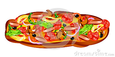 Traditional delicious Italian vegetable pizza