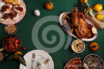Traditional dinner with roasted chicken Stock Photo