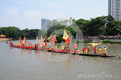 Traditional Dragon boat in Guangzhou Editorial Image