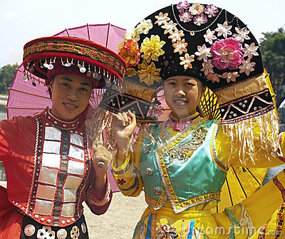 Zhuang Minority People - Traditional Dress - China Editorial Photography