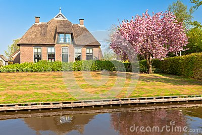 Traditional Dutch house at spring