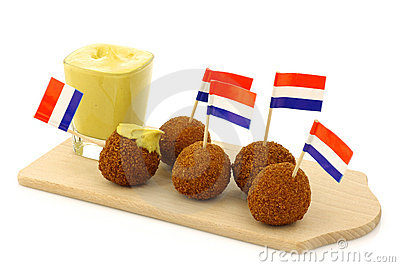 Traditional Dutch snack called bitterballen