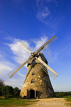 Traditional dutch windmill in
