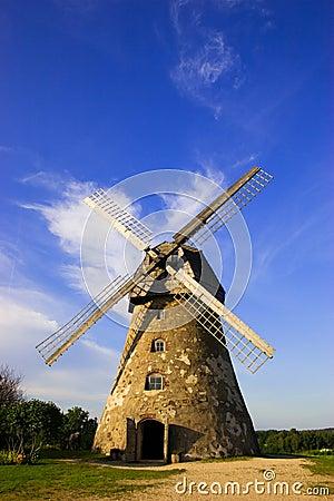 Traditional dutch windmill in