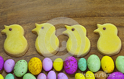 Easter cookies and eggs.