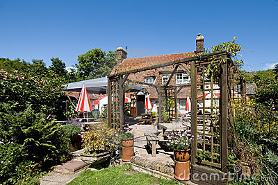 Traditional English pub garden