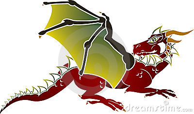 Traditional European dragon stencil