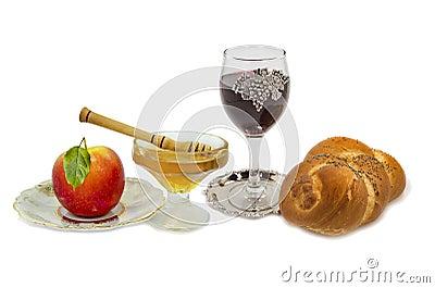 Traditional festive food for Rosh Hashanah, isolat