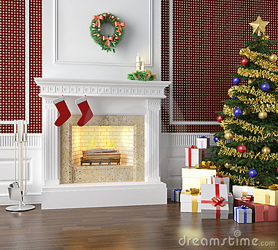 Traditional fireplace decorated for