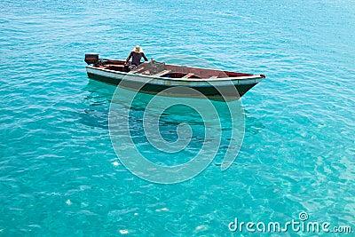Traditional fisher boat in Santa Maria in Sal Island in ...