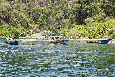 Traditional fisherman lake Kivu boat Editorial Image