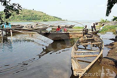 Traditional fisherman lake Kivu boat at Gisenyi Editorial Stock Photo