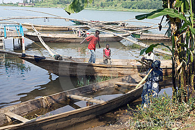 Traditional fisherman lake Kivu boat at Gisenyi Editorial Stock Image