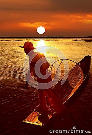 Fisherman, Inle Lake, Myanmar (Burma) Editorial Image