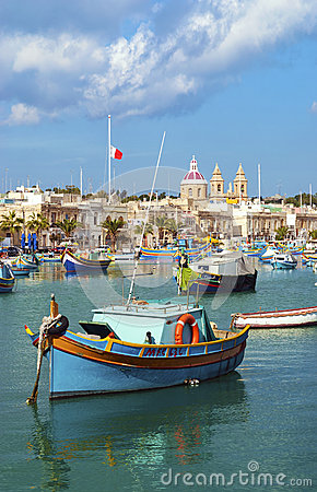 Free Traditional Fishing Boats Marsaxlokk Harbour Malta Stock Image - 42753381
