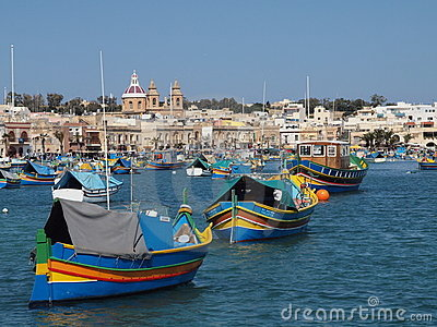 Traditional Fishing Village Harbour, Malta Editorial Photography