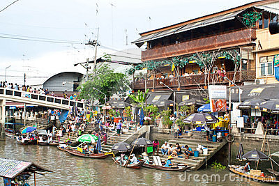 Traditional floating market, Thailand. Editorial Stock Photo