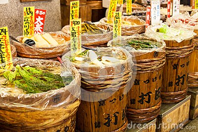 Traditional food market in Japan.