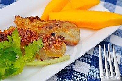 Traditional Fried mango prawn delicacy