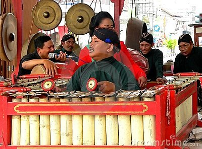 Traditional gamelan players Editorial Stock Image