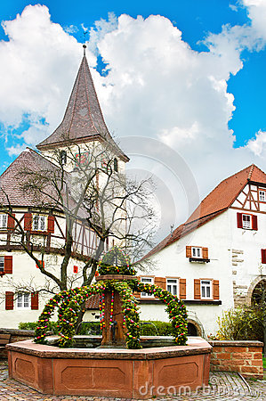 Free Traditional German Easter Eggs Outdoor Decoration Stock Photos - 39078513