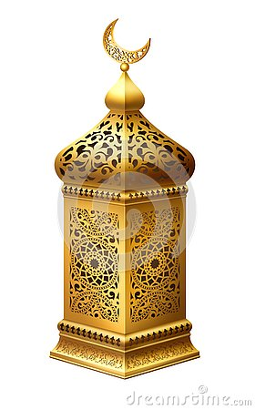 Free Traditional Golden Alabic Lantern Stock Photography - 144805682