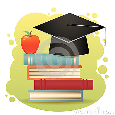 Traditional graduation hat, books and apple isolat