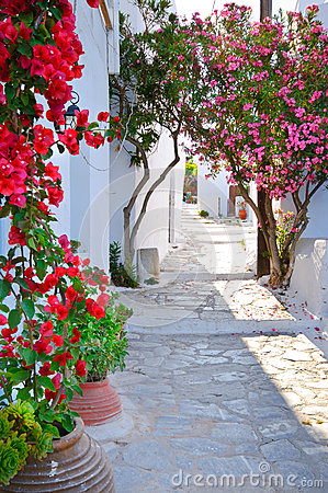 Traditional greek backstreet in Cyclades Islands,