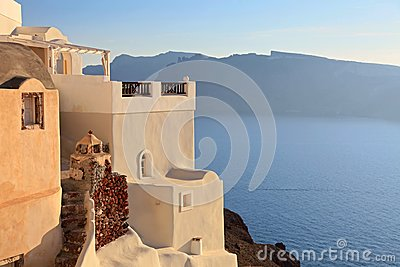 Traditional greek house at sunset