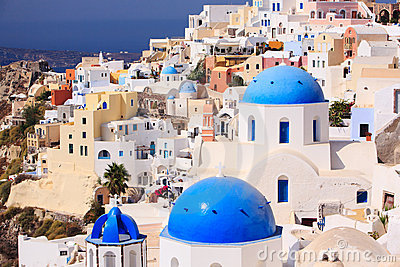Traditional Greek little town Oia in Santorini