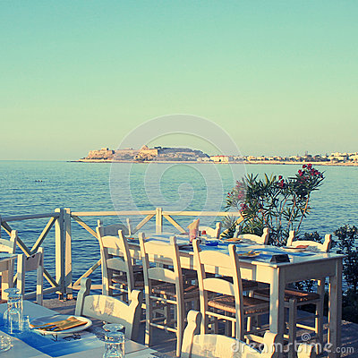 Free Traditional Greek Outdoor Restaurant On Terrace At Street Villag Royalty Free Stock Photo - 70354155