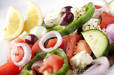 Traditional greek salad close-up