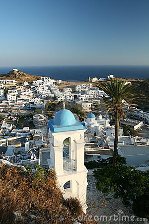 Traditional Greek Town on Hill